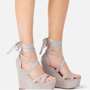 Lace up wedges